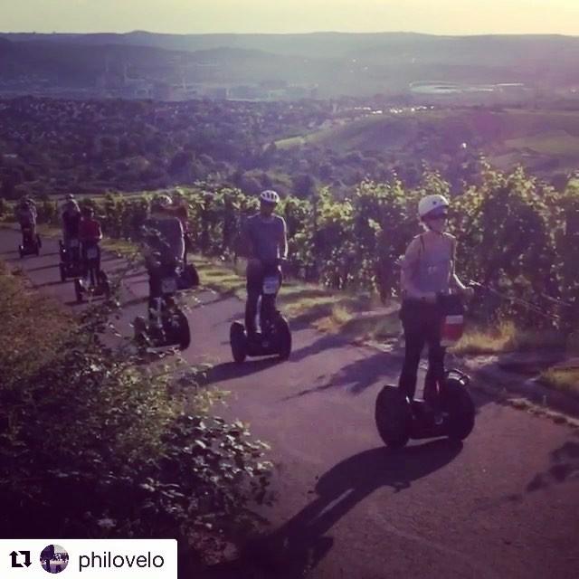 Sunset segway tour in Grabkapelle-Württemberg near Stuttgart Germany. Long summer days among the grape vines and rolling vineyards . . @philovelo ・・・ Grabkapelle-Württemberg-Tour .. . .