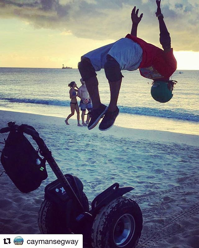 Segway Tours in the Cayman Islands ?? so good you will want to jump for joy - or a back flip beach time never looked better! . .  @caymansegway ・・・ Tour Guide Marcus does a back flip try this at home!