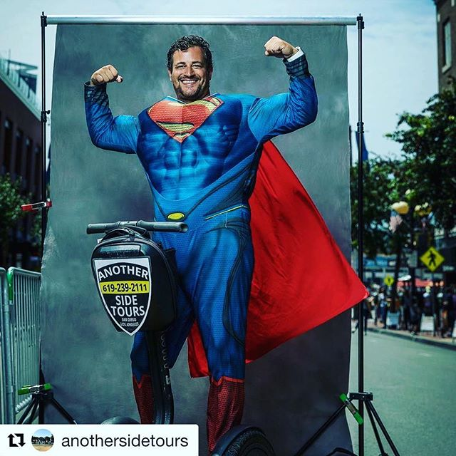 Segway superman of the day makes an appearance at comicon in San Diego CA USA  don't get your cape caught in the wheel caped crusader! . @anothersidetours ・・・ He has been called Superman more than just today....the one and only Mr. Clark Kenneth Lippman Kent!
