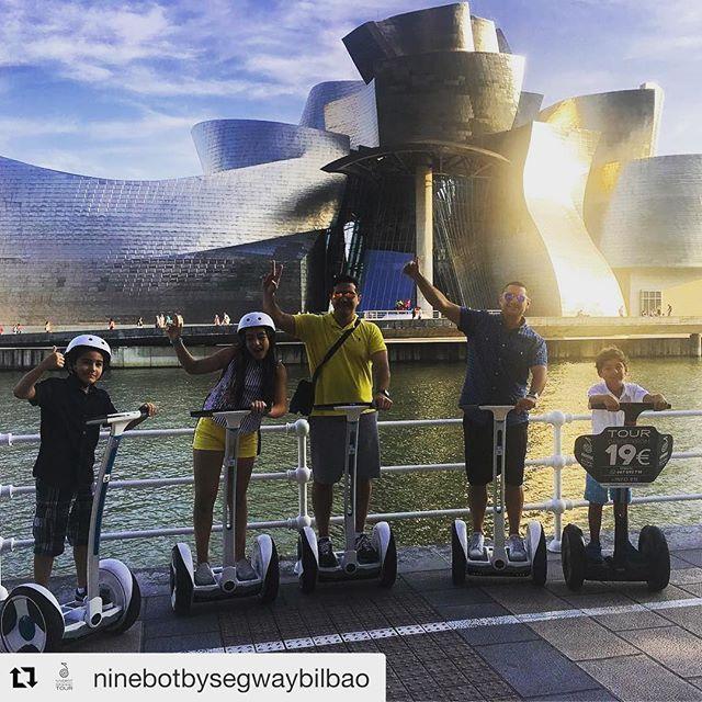Segway tour of the day is from Bilbao Spain with a spectacular view of the Guggenheim Museum designed by Frank Gehry . . @ninebotbysegwaybilbao ・・・ En familia y entre amigos los tours se hacen mejor . Desde Venezuela ?? y con nuestros mejores deseos para el pueblo venezolano