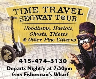 "The San Francisco Halloween Time Travel Segway Tour is Back! . October is here, which means our Halloween-themed Segway tour is back all month long!  Join us for our Time Travel Segway Tour, featuring Hoodlums, Harlots, Ghosts, Thieves and other Fine Citizens!  Travel back in time with your slightly deranged expedition leader to dig up sordid tales of days gone by.  This one-of-a-kind interactive tour covers infamous San Francisco haunts:  North Beach ""Little Italy,"" Chinatown, and the Barbary Coast.  Dates: October 1 - 31, 2017 Departure Time: Every night at 7:30 p.m. Location: 757 Beach Street (near Hyde); For more information or reservations: Call 1-415-474-3130 (8:00 a.m. to 7:00 p.m.) Book Online: ElectricTourCompany.com . ."