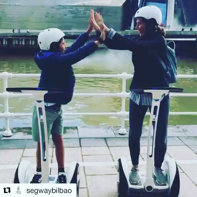 Boomerang Segway and Ninebot style in Bilbao Spain  see many destinations in Spain on Segway tour! . .  @segwaybilbao ・・・ Nos encantan los tours familiares en los que se ve esa complicidad de padres con hijos .