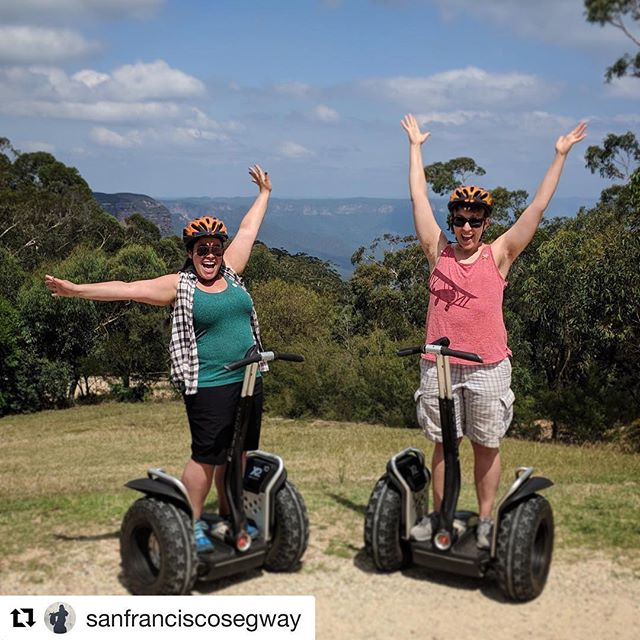 Segway world tour starts in Australia with team @sfsegway checking out the tours and fun at @segwaybluemountains @sanfranciscosegway ・・・ Senior guides Nic and Melanie vacationing in Australia! 🇦🇺 thanks to @segwaybluemountains for the sick shot!. .