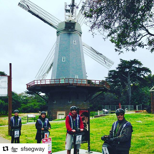 @sfsegway ・・・ Windmills in San Francisco!! Electric Tour Company guests enjoying our new Segway to Ocean Beach advanced rider tour. 3 hours of Segway riding fun in #goldengatepark. Glide past casting ponds, bison paddock, 2 windmills and end up looking at the Pacific  Ocean. New park route for 2018 . Book online or call 415-474-3130 . . . . . .