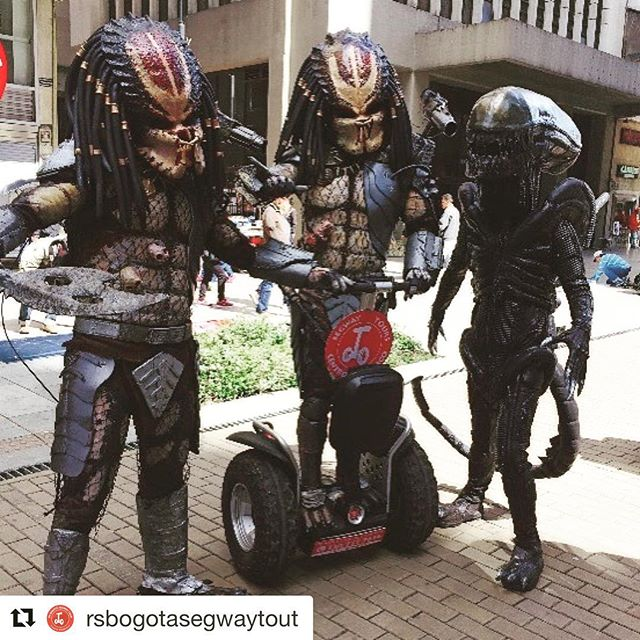 Alien invasion on Segway in Bogota Columbia . Take a segway tour with these guys or other not so out of the world folks chose from over 700 destinations at @segwayworldwide .  @rsbogotasegwaytout . .